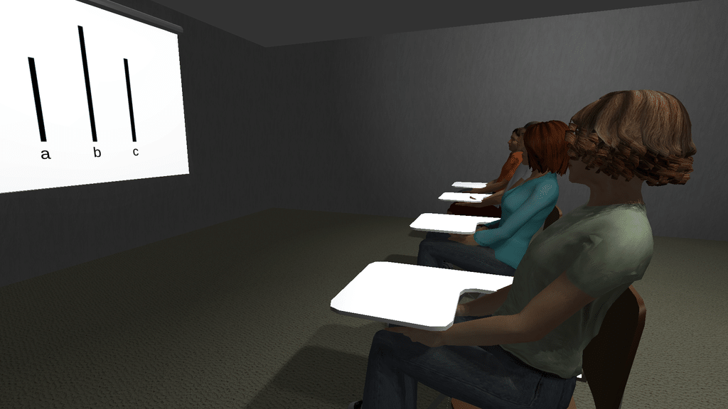 Participant's view in the virtual Asch conformity application.