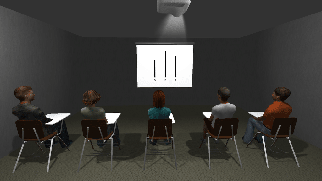 A 5 participant setup in the virtual Asch conformity paradigm application. The classic line stimuli is shown.
