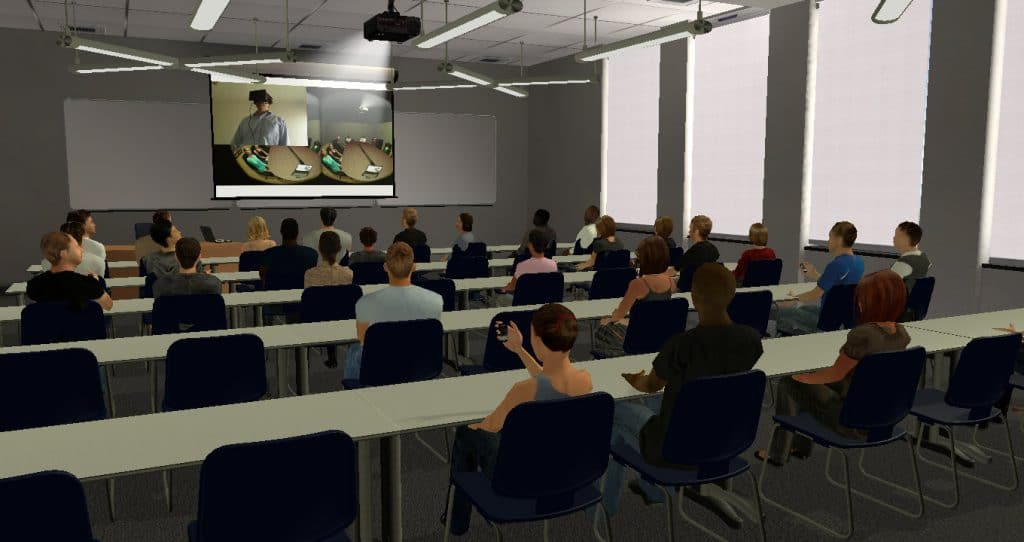 A presentation is being given in a virtual classroom. The slide shows a person using Virtual Orator with an HMD.